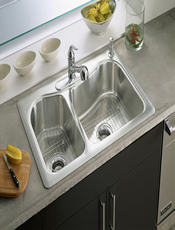 Give a brush satin finish to anymetal. Countertops ,sinks, bath and kitchen fixtures.